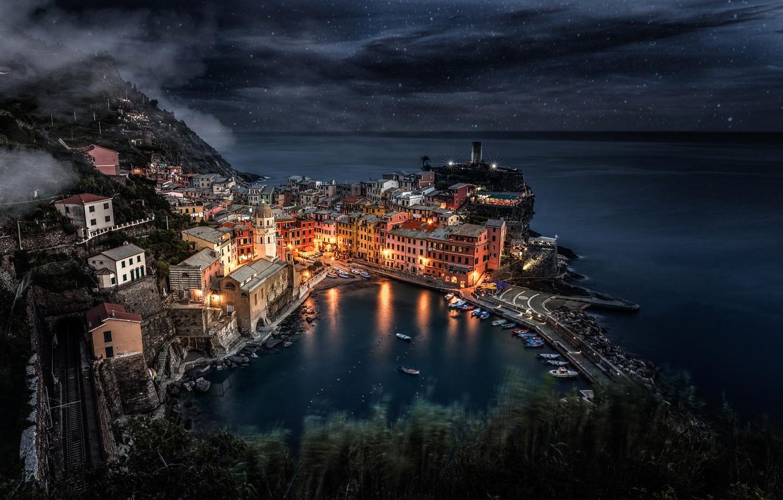 Обои рисунок, Вода, лодки, ночь, свет. Разное foto 14