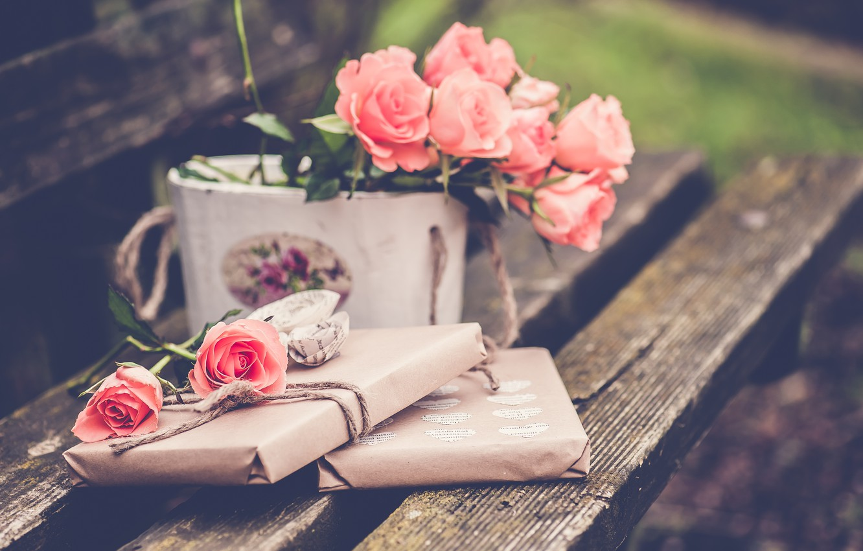 Фото обои цветы, скамейка, розы