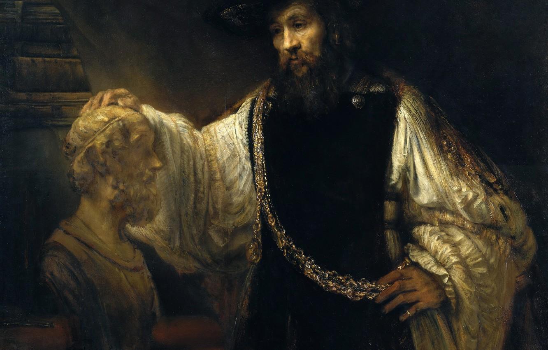 Обои Аристотель с Бюстом Гомера, портрет, картина, Рембрандт ван Рейн. Разное foto 6