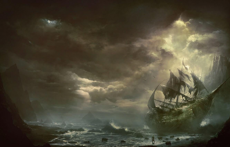 Фото обои море, горы, тучи, человек, корабль, парусник, арт, кораблекрушение, Kentaro Kanamoto