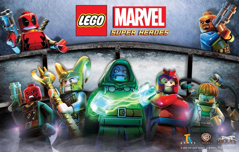 Фото обои Red, Skull, Deadpool, Loki, Doc Ock, Nick Fury, Lego Marvel, Dr Doom