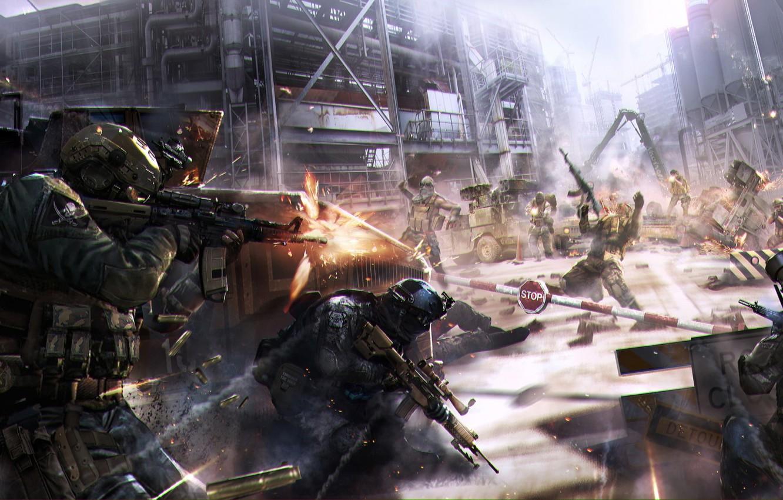 Фото обои guns, soldier, art, man, battle