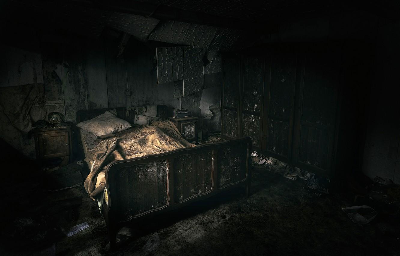 Фото обои комната, кровать, разруха