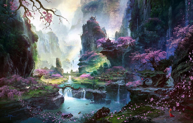 Фото обои девушка, деревья, пейзаж, горы, река, скалы, азия, водопад, лепестки, сакура, арт, храм