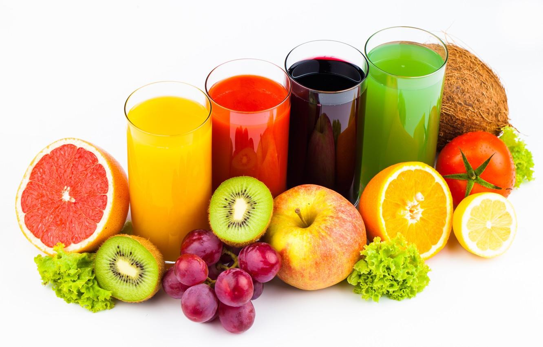 Фото обои фон, Фрукты, овощи, соки