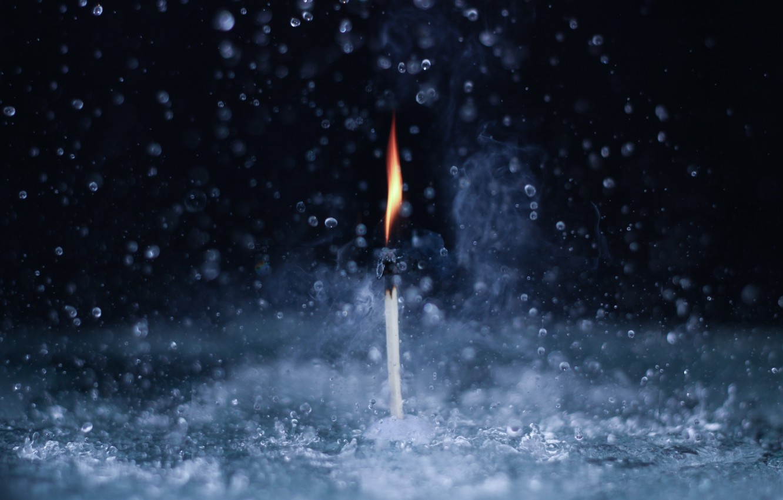 Фото обои вода, макро, огонь