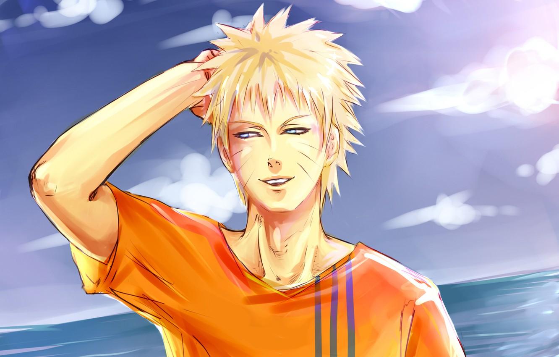 Фото обои небо, вода, улыбка, наруто, парень, Naruto, Uzumaki
