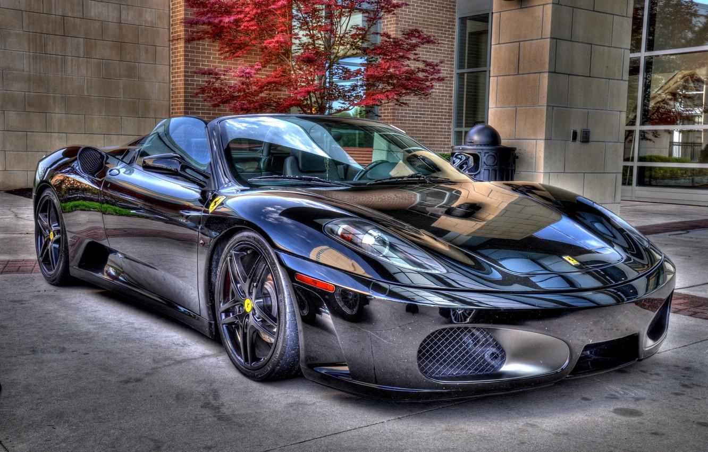 Фото обои F430, Ferrari, Black, Spider, Chrome