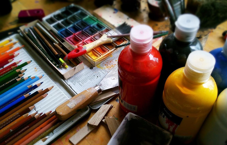 Фото обои краска, карандаши, акварель, художник, инструменты, ручки, живопись, творчество, акрил