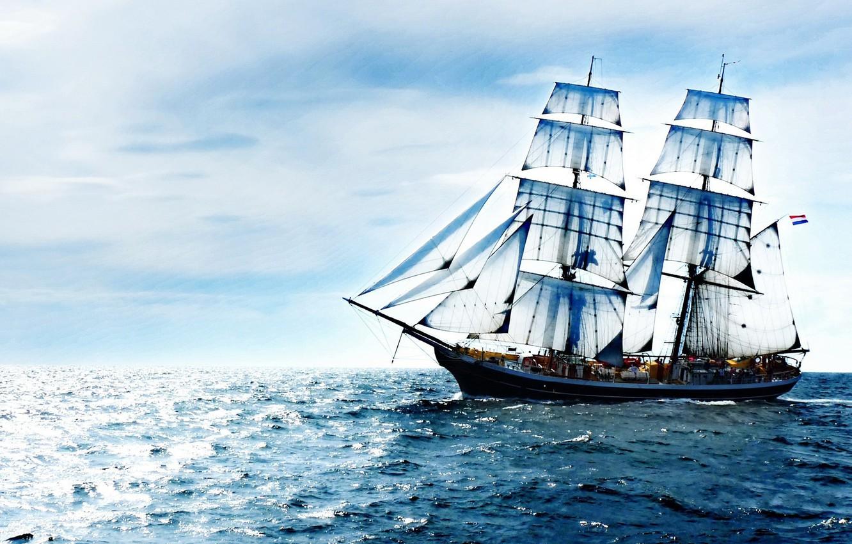 Обои корабль, парусник, Облака. Пейзажи foto 8