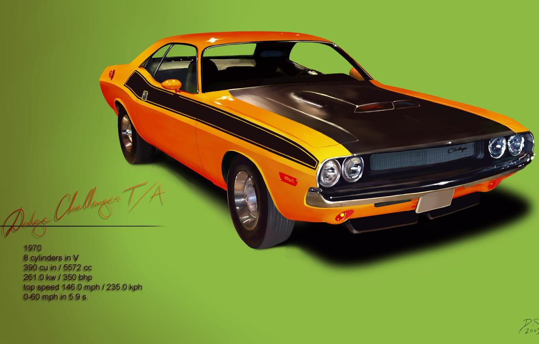 Фото обои мощь, Dodge, Challenger, классика, 1970, маслкар