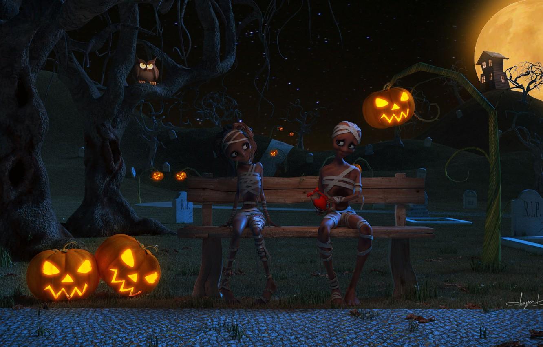 Фото обои скамейка, ночь, дом, луна, могилы, мальчик, арт, лавочка, девочка, фонарь, тыквы, Хэллоуин, валентинка, Helloween, мумия, …