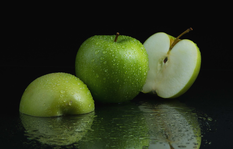Фото обои капли, макро, зеленый, яблоки, фрукт, половинки