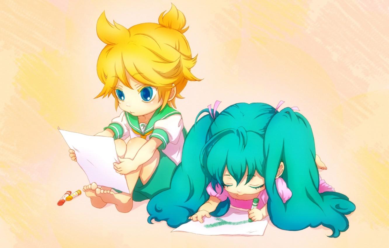 Фото обои дети, рисунок, мальчик, арт, девочка, vocaloid, hatsune miku, вокалоид, мелки, школьники, kagamine len