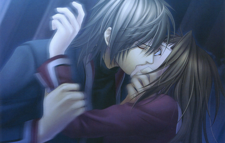 Фото обои ночь, страх, поцелуй, руки, демон, Hiiro no Kakera, Ryou Kutani, Багровые осколки, Tamaki Kasuga