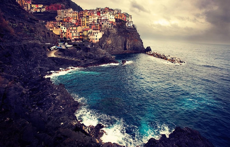 Обои дома, скалы, Пейзаж, Manarola, italy, побережье. Города foto 7