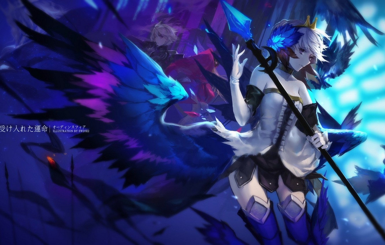 Фото обои девушка, крылья, аниме, перья, арт, посох, парень, swd3e2, odin sphere, gwendolyn