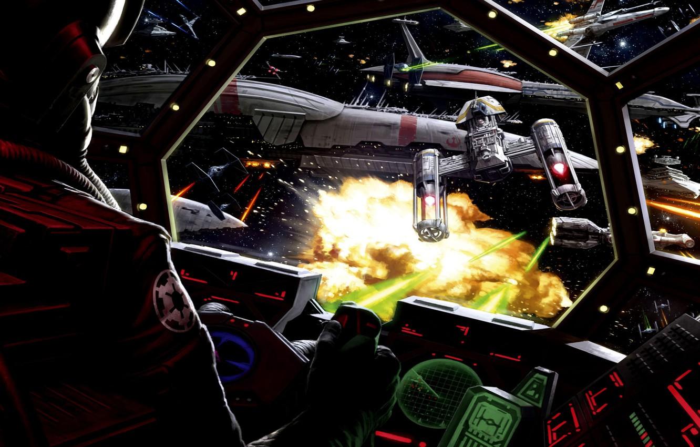 Фото обои Star Wars, Art, Cockpit, Battle, TIE fighter