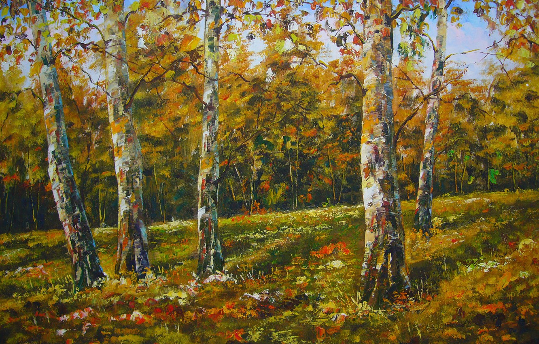 Фото обои осень, деревья, природа, рисунок, картина, арт, рисунки, картины