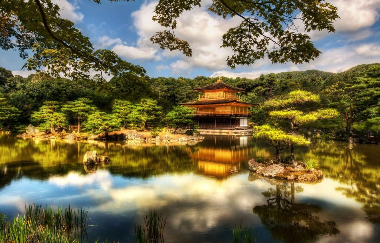 Фото обои япония, храм, Japan, Kyoto, Temple, Pavilion, Golden