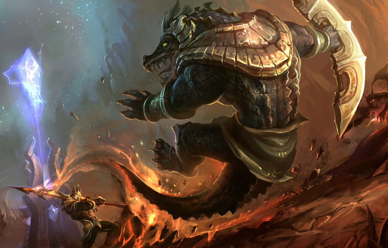 Фото обои League of Legends, Renekton, Jarvan, dominion