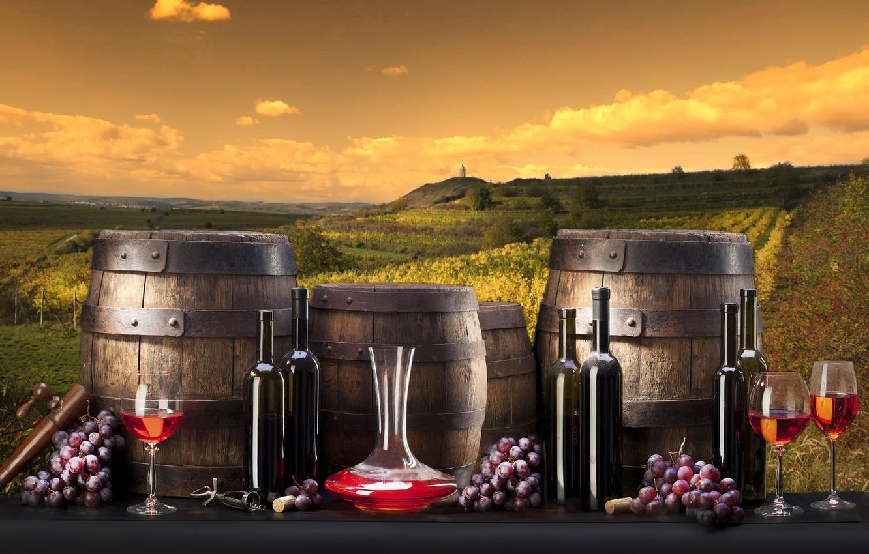 Обои Бутылки, бочки, виноградники, виноград, вино. Разное foto 7
