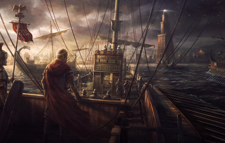 Фото обои игры, чайки, корабли, египет, rome, рим, войско, total war, римляне, total war : rome 2, …