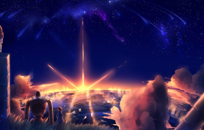Фото обои небо, звезды, облака, закат, природа, робот, аниме, арт, девочка, laputa: castle in the sky, небесный …