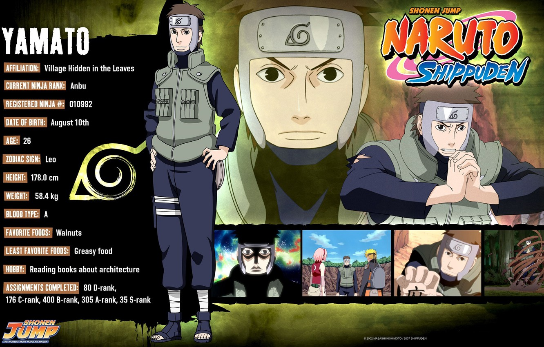 Фото обои Naruto, art, жилет, ninja, Yamato, Коноха, наруто ураганные хроники, Masashi Kishimoto, досье, анкета, повязка на …