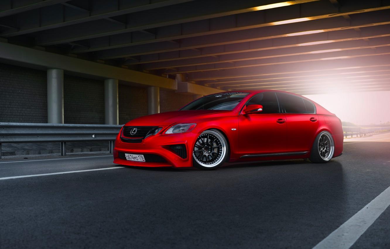Фото обои Lexus, Red, Car, Front, Sun, Matte, Tuning, Sport, GS300, Metallic