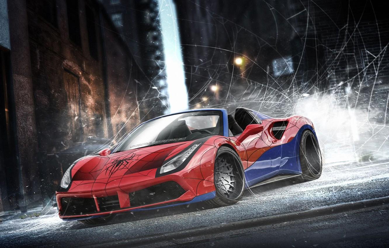 Фото обои авто, Феррари, супергерой, Marvel, Человек-паук, Spider-Man, Марвел, DC Superheroes, Ferrari 488 Spider