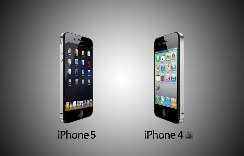 Фото обои iPhone, apple, техника, телефон, гаджет, iPhone 5 vs Iphone 4s