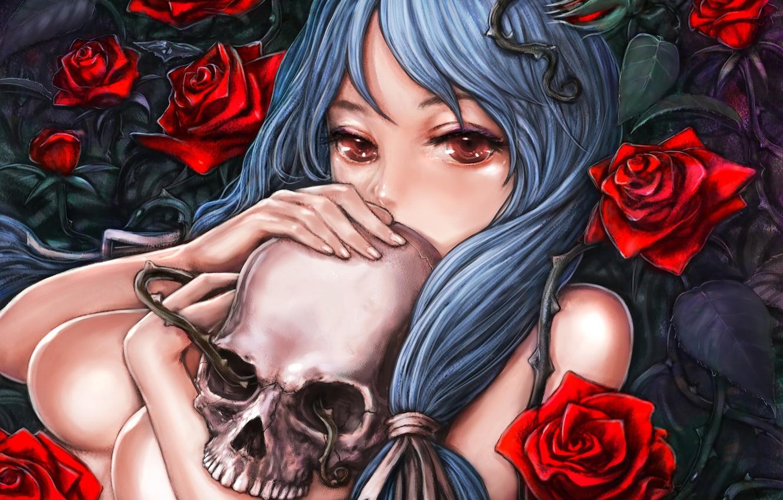 Фото обои девушка, череп, розы, арт, шипы, обнажена, pixiv, burunu