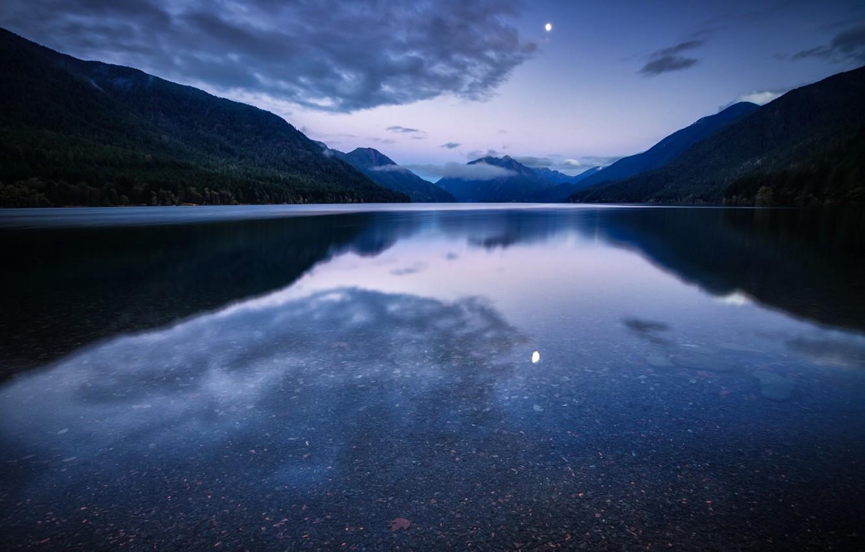 Фото обои лес, небо, вода, облака, горы, ночь, озеро, гладь, отражение, луна, США, синее, сиреневое, Национальный Парк, …