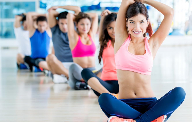 Фото обои pose, group, gym, joga