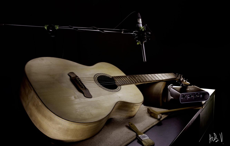 Фото обои музыка, гитара, микрофон