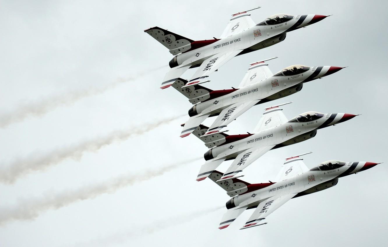 Фото обои группа, истребитель, Fighting, F-16, Falcon, Dynamics, General