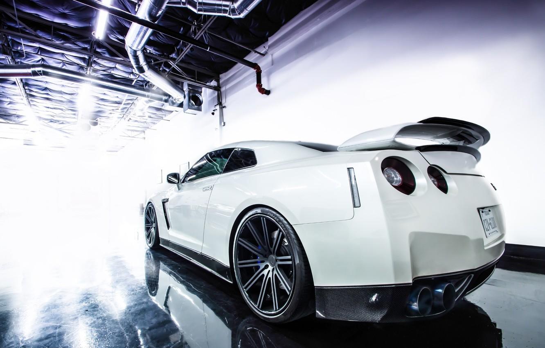 Фото обои GTR, Nissan, Car, White, Sport, Wheels, Rear, Jotech