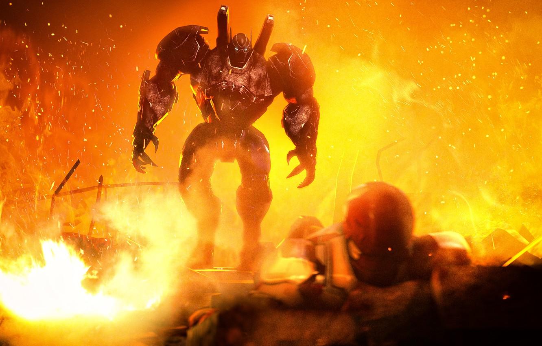 Фото обои огонь, batman, робот, руины, Iron Man, crossover, dc comics, marvel comics, Tony Stark, bruce wayne, …
