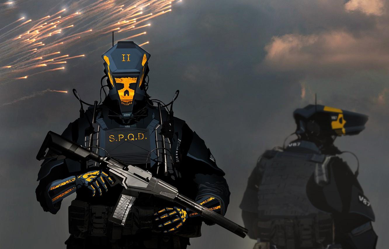 Обои амуниция, солдат, киборг, Фантастика, автомат. Фантастика foto 9
