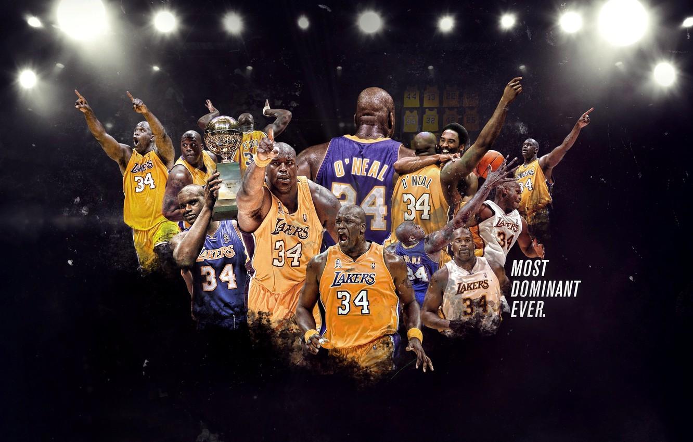 Фото обои Баскетбол, NBA, Los Angeles Lakers, Игрок, Shaquille O'Neal, Шакил О'Нил, Лос-Анджелес Лейкерс, Супер мен
