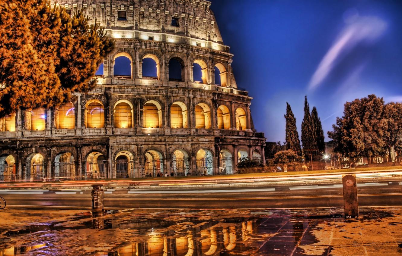 Фото обои Вечер, Дорога, Колизей
