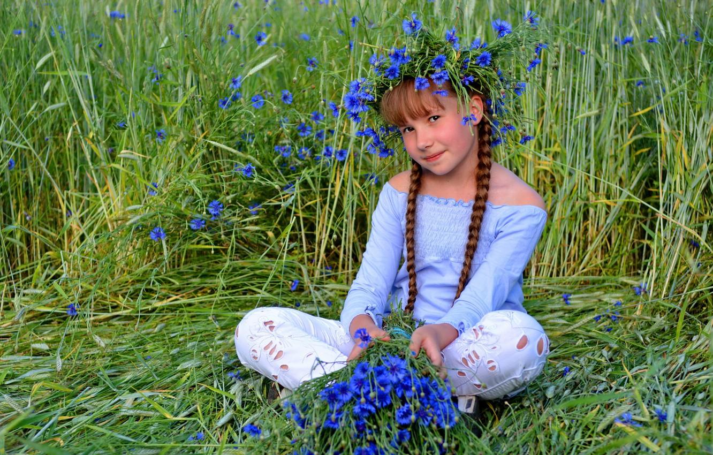 Фото обои лето, взгляд, цветы, портрет, девочка