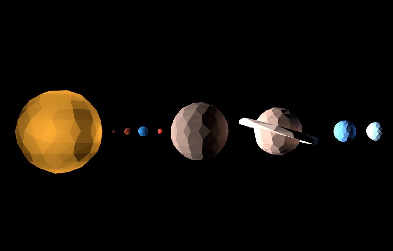 Фото обои космос, планеты, геометрия, солнечная система, фигуры