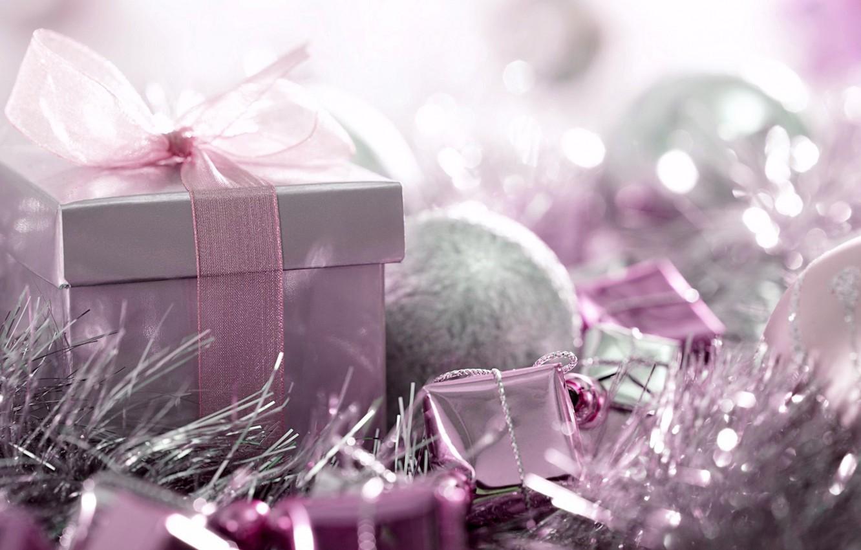 Фото обои праздник, подарок, игрушки, новый год, лента, декор