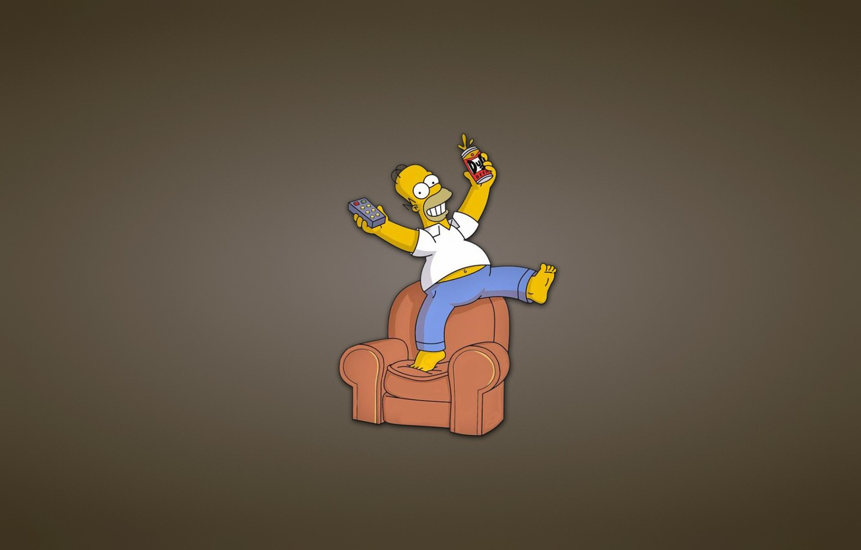 Фото обои диван, Симпсоны, минимализм, кресло, пульт, банка, гомер, The Simpsons, Homer Simpson, веселуха