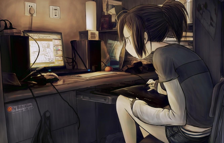 Фото обои девушка, рисунок, за компьютером, искусскуство