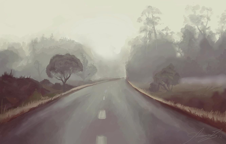 Фото обои дорога, небо, деревья, арт, живопись