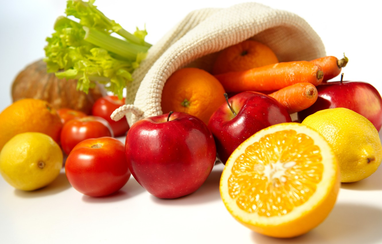 Фото обои яблоки, еда, апельсины, фрукты, овощи, помидоры, морковь, лимоны