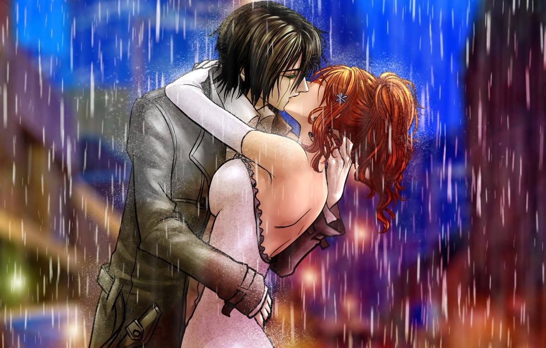 Фото обои девушка, дождь, поцелуй, арт, пара, парень, bleach, ulquiorra schiffe, inoue orihime, billiefeng